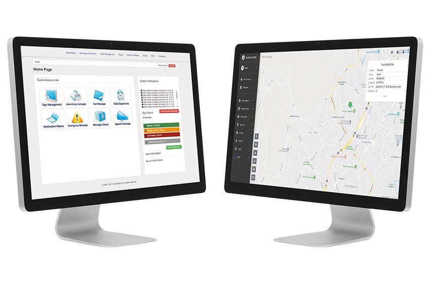 Integrated public transport software screens